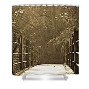 Over The Bridge Shower Curtain by Brian Roscorla