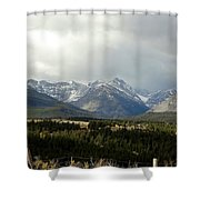 Over The Fence To Dusted Mountains Shower Curtain