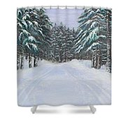 Snow Tracks Shower Curtain