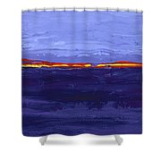 Over The Line Blue Shower Curtain
