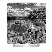 Over The Rooftops At Portree In Greyscale 2 Shower Curtain