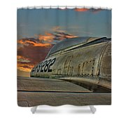 Over The Shoulder F-84g Shower Curtain