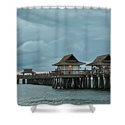 Clouds Over The Naples Pier Shower Curtain