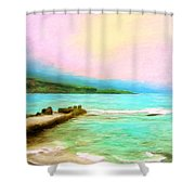 Overcast Sunset At Napoopoo Beach Park Shower Curtain