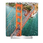 Overhead Aerial Of Golden Gate Bridge, San Francisco, Usa Shower Curtain