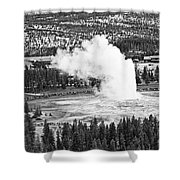 Overhead View Of Old Faithful Erupting. Shower Curtain