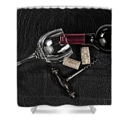 Overhead View Of Vintage Corkscrew With Red Wine Bottle And Glas Shower Curtain