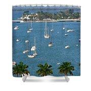 Overlooking A Miami Marina Shower Curtain