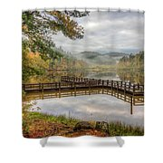 Overlooking The Beauty Of The Lake Shower Curtain