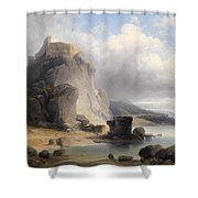 overlooking the castle ruins Devin Shower Curtain