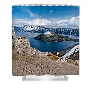 Overlooking Wizard Island In Spring Shower Curtain