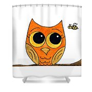 Owl And Bee Shower Curtain