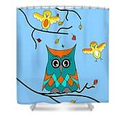 Owl And Birds - Whimsical Shower Curtain