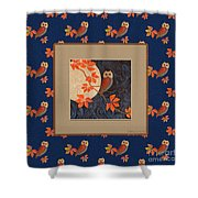 Owl And Moon On Midnight Blue Shower Curtain