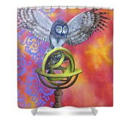 Owl And Star Map Shower Curtain