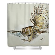 Owl In Flight Shower Curtain