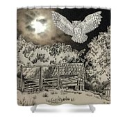 Owl In The Moonlight On Brush Mountain Shower Curtain