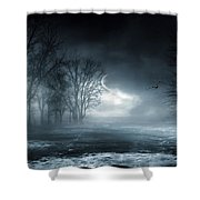 Owl Of Minerva Shower Curtain by Lourry Legarde
