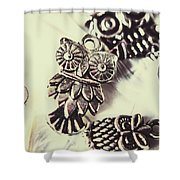 Owl Pendants. Charms Of Wisdom Shower Curtain