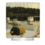 Owls Head Boats In The Snow Shower Curtain