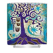 Owls In A Summer Tree Shower Curtain