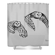 Owls In Flight Shower Curtain