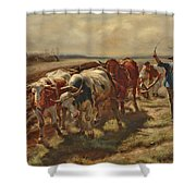 Oxen Plowing Shower Curtain