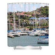 Oyster Bay Marina Shower Curtain
