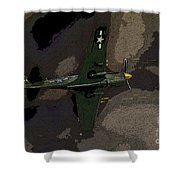 P 40 Warhawk In Action Shower Curtain