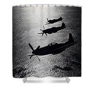 P-51 Cavalier Mustang With Supermarine Shower Curtain by Daniel Karlsson
