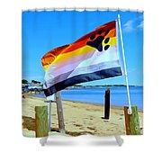 P Town Bear Flag Shower Curtain