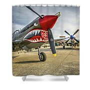 P40 Warhawk And P51d Mustang On The Ramp Shower Curtain