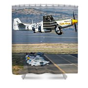P51 Mustang Little Horse Gear Coming Up Friday At Reno Air Races 16x9 Aspect Signature Edition Shower Curtain
