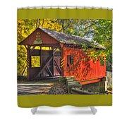 Pa Country Roads - Henry Covered Bridge Over Mingo Creek No. 3a - Autumn Washington County Shower Curtain