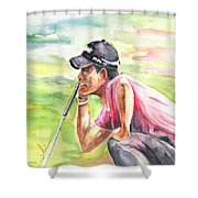 Pablo Larrazabal Winning The Bmw Open In Germany In 2011 Shower Curtain
