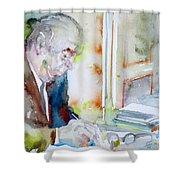 Pablo Neruda - Watercolor Portrait.8 Shower Curtain