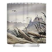 Pacific Northwest Driftwood Shore Shower Curtain by James Williamson
