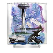 Pacific Northwest Montage  Shower Curtain