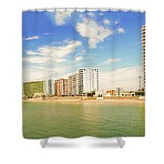 Pacific Ocean Beach In Salinas, Ecuador Shower Curtain