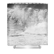 Pacific Ocean Breakers Black And White Shower Curtain