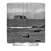 Pacific Ocean Coastal View Black And White Shower Curtain