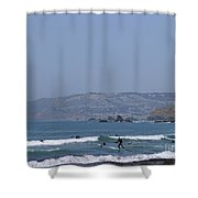 Pacifica Surfing Shower Curtain by Cynthia Marcopulos