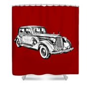 Packard Luxury Antique Car Illustration Shower Curtain