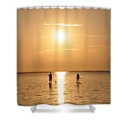 Paddle Boarding Out Of The Sunset Shower Curtain