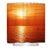 Paddle Surfer Sunset Shower Curtain