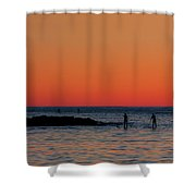 Paddleboarding Pairs - Mackinzie Beach Sunset Shower Curtain