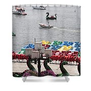Paddleboats Waiting In The Inner Harbor At Baltimore Shower Curtain