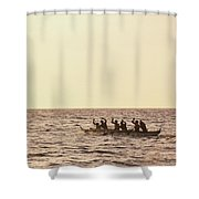 Paddlers Silhouetted Shower Curtain