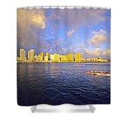 Paddling Beneath Rainbow Shower Curtain by Carl Shaneff - Printscapes