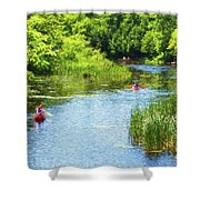 Paddling On A Calm Creek Shower Curtain